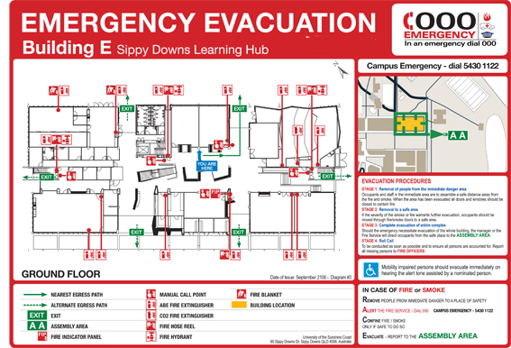 Evacuation diagrams signs chilli fire for Occupant emergency plan template